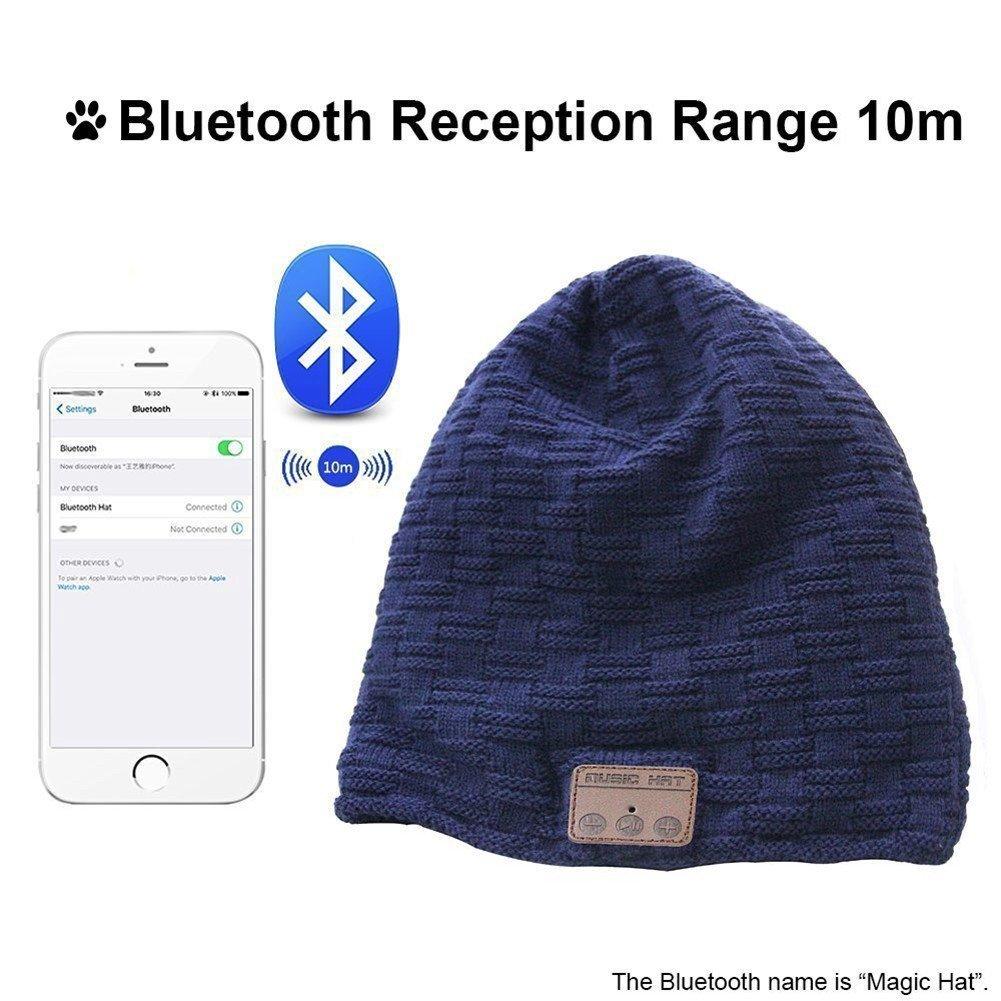 Bluetooth Integrato Invernale Felpato Cappello Berretto Auricolare f64T6wx