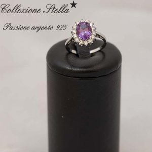 Anello Collezione Stella Passione argento 925 Pietra Quarzo viola