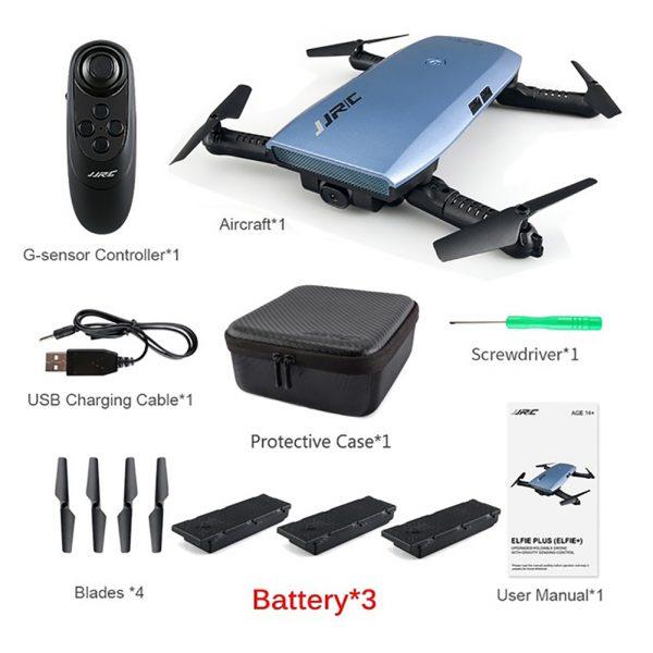 JJRC H47 SELFIE DRONE TASCABILE RTF WI-FI FPV VISIONE DIRETTA ELFIE+ AZZURRO 3 batterie