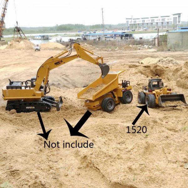mezzi da lavoro radiocomandati Ruspa / bulldozer RC dotata di cestello completamente ribaltabile, movimentazione pari alla versione reale. RUSPA RADIOCOMANDATA 6ch 1:18 2,4Ghz RC Huina 1520