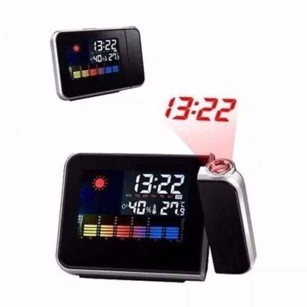 Sveglia, Meteo, Barometro, Temperatura ambiente, Calendario, Orologio da tavolo con Proiettore Tutto in 1.