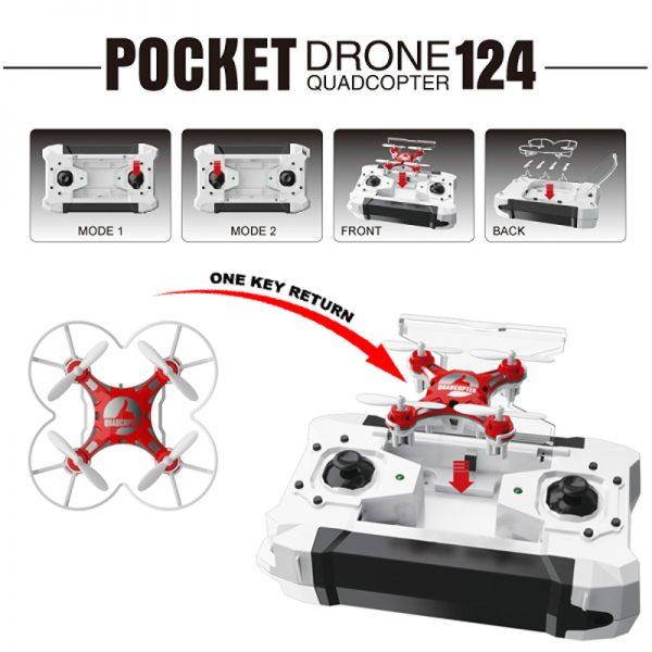 Nuovo Mini Quadricottero Micro drone RC Sbego 124 Pocket 4CH, con Giroscopio 6 Assi, funzione flip 360°, batteria integrata, ideale per interni e pronto all'uso.