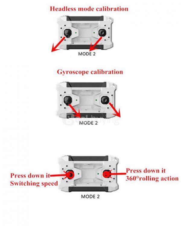 Il controller è progettato con uno tasto swith 1 MODE1 / MODE2, che consente a tutti di pilotare il drone con facilità anche alle persone mancine.